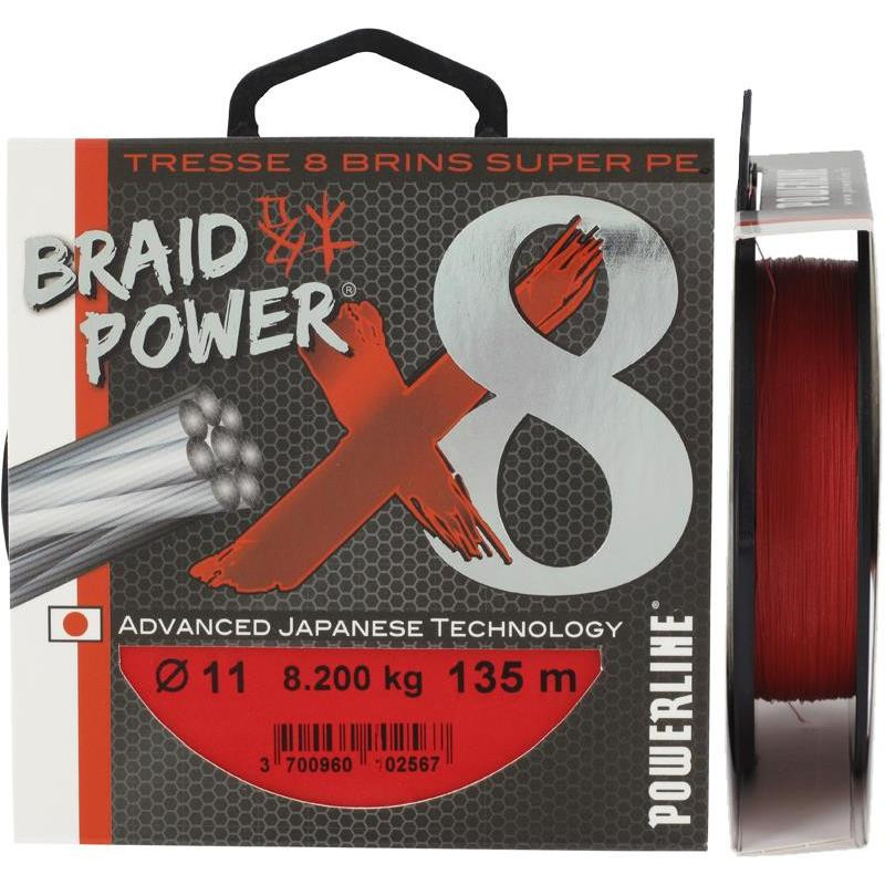 TRESSE BRAIDPOWER 8 BRINS POWERLINE ROUGE 135M