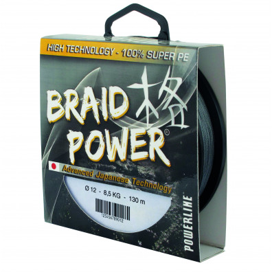 TRESSE BRAID POWER 130 M DE POWERLINE GRISE OU VERTE